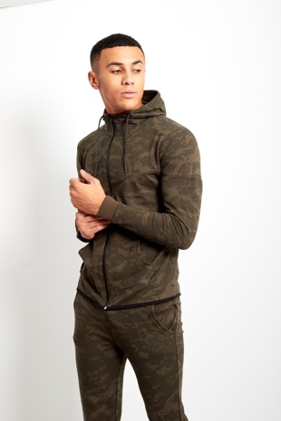 Khaki Mens Camo Pattern Skinny Fit Tracksuit