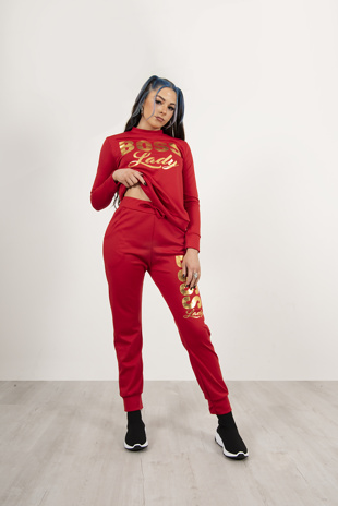 Red Cream Boss Lady Customized Tracksuit