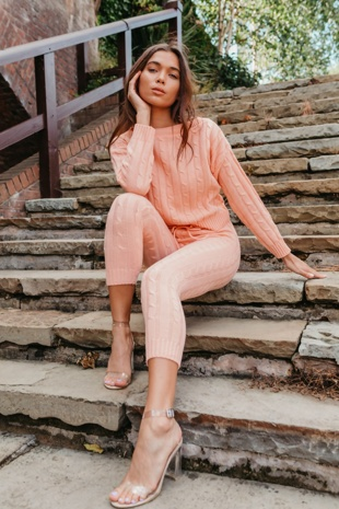 Peach Cable Knit Long Sleeve Jumper & Legging Lounge Set