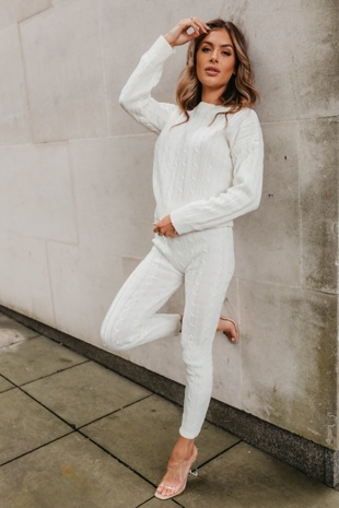 Cream Cable Knit Long Sleeve Jumper & Legging Lounge Set