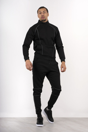 Mens Black Tracksuit With Reflective Piping Detail