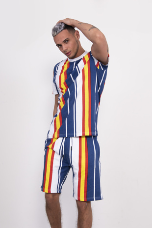 Mens Blue Stripe T-Shirt And Short Set