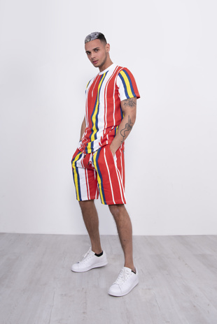 Mens Red Stripe T-Shirt And Short Set