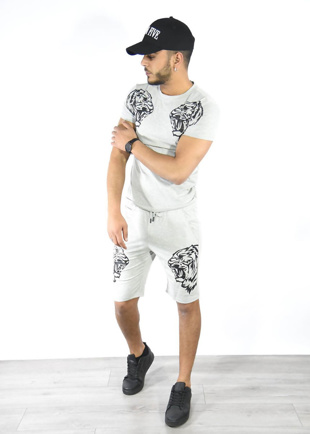 Grey Tiger Logo T-Shirt And Shorts Set