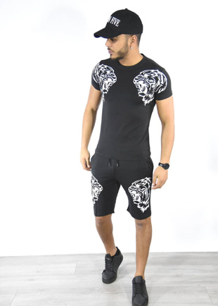 Black Tiger Logo T-Shirt And Shorts Set