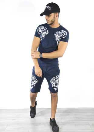 Navy Tiger Logo T-Shirt And Shorts Set