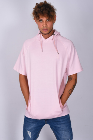 Mens Pink Oversized Longline Short Sleeve Hoodie