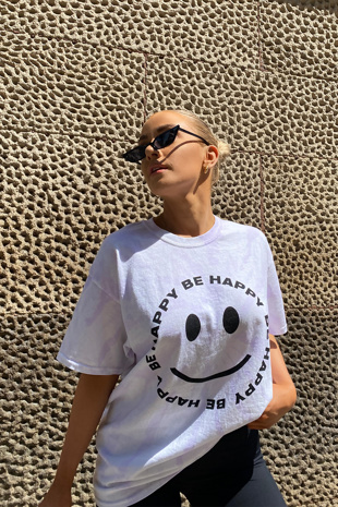 White Be Happy Print In Spiral Tie Dye T-Shirt