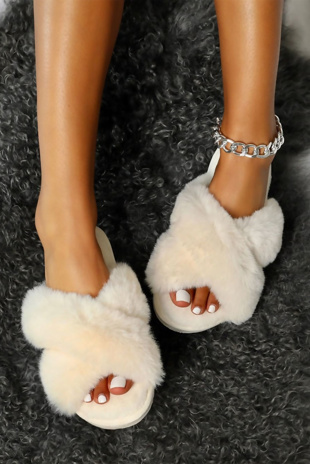 White Faux Fur Cross Strap Slider Slippers
