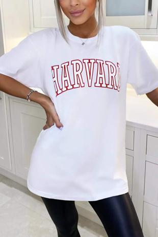 White Oversized Harvard Tee