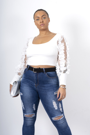 White floral applique mesh sleeve ribbed crop top
