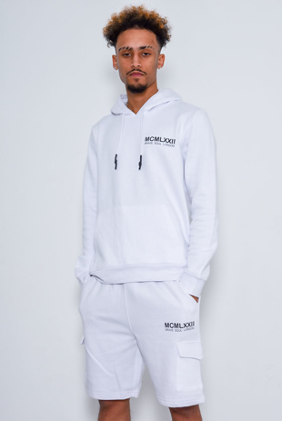 Men Printed White Hoodie And Short Tracksuit