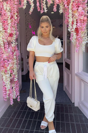 White Puff Sleeve Cropped Top And Jogger Set