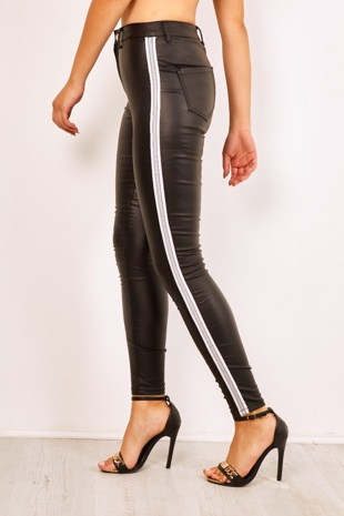 Wet Look Silver Side Stripe Skinny Jeans