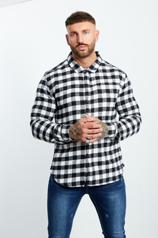 White And Black Checked Thick Shirt