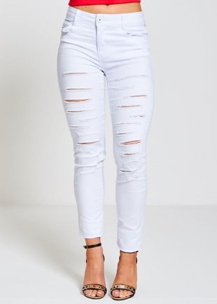 White Denim Distressed skinny jeans
