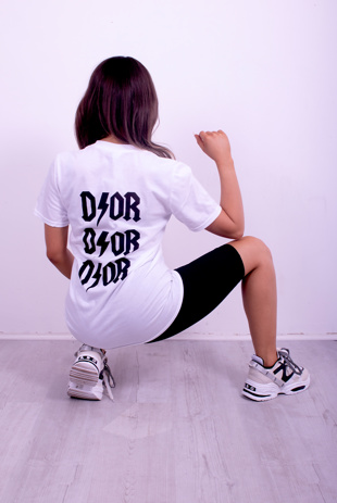 White Dior Slogan Back T-Shirt