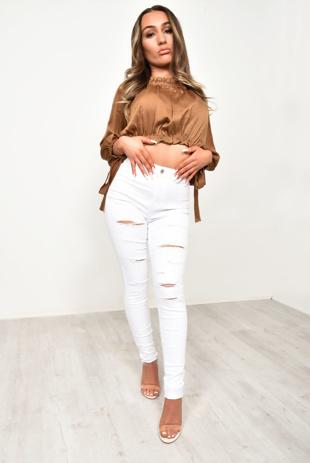 White Rip Distressed Disco Skinny Jeans