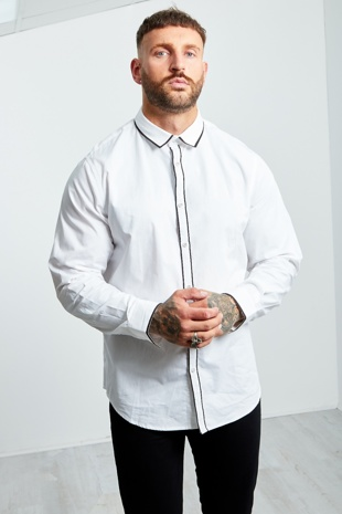 Mens White Monochrome Long Sleeve Shirt