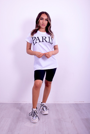 White Paris Slogan T-Shirt