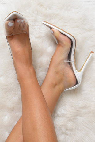 White Perspex Pointed Toe Stiletto Heels