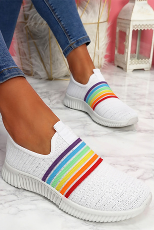 White Rainbow Slip On Trainers
