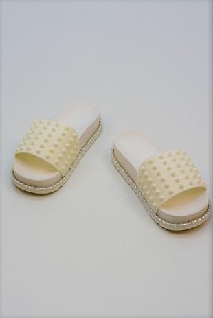 White Spike Studded Chunky Sliders