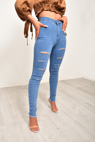 Blue Rip Distressed Disco Skinny Jeans
