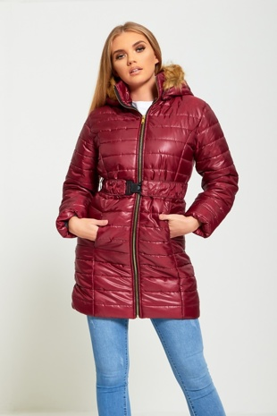 Wine Belted Hooded Puffer Jacket