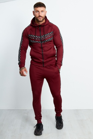 Wine Hexagon Striped Zip Through Tracksuit