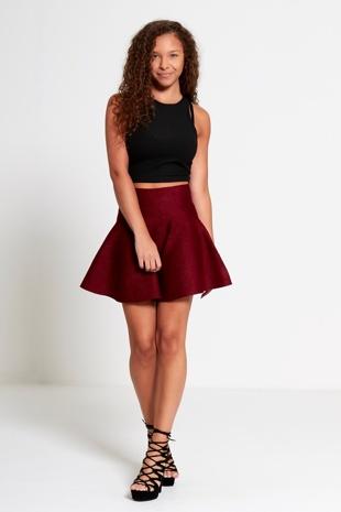 Wine High Waisted Glitter Skater Skirt