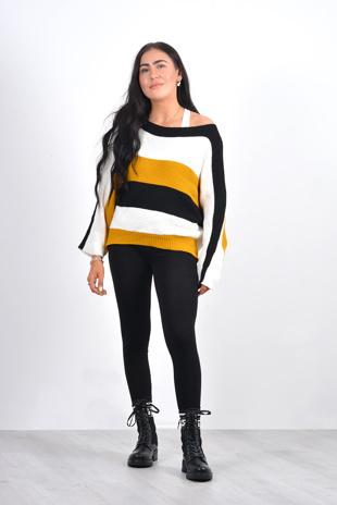 yellow and black stripe dolman sleeve knit jumper