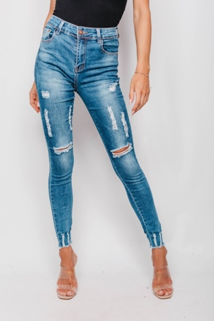 Frayed Hem Stonewashed Distressed Denim Jeans
