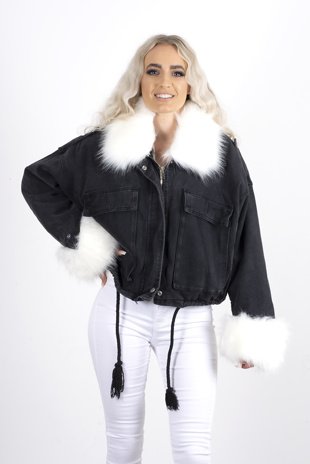 Black Faux Fur Trim Denim Jacket