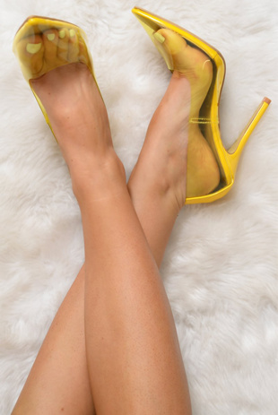 Yellow Perspex Pointed Toe Stiletto Heels