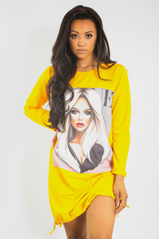 Yellow Vouge Girl Printed T-shirt Dress