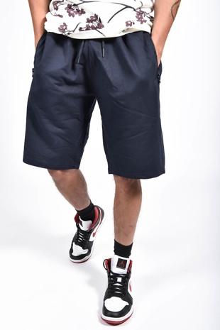 Mens Navy Zip Pocket Jersey Shorts