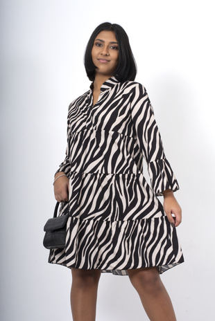 Zebra Print Zig Zag Ruffle Dress