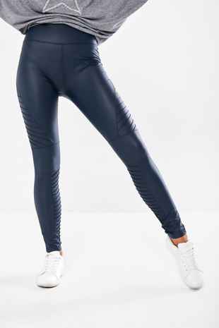 Navy High Waisted Faux Leather Biker Leggings
