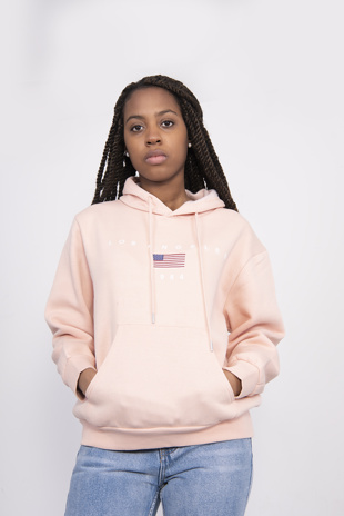 Pink Los Angeles Embroidered Hoodie