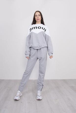 Grey Amour Slogan Colour Block Tracksuit