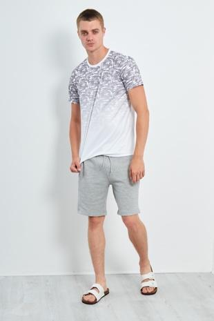 Mens White Fade Camo Poly Crew Neck T-shirt
