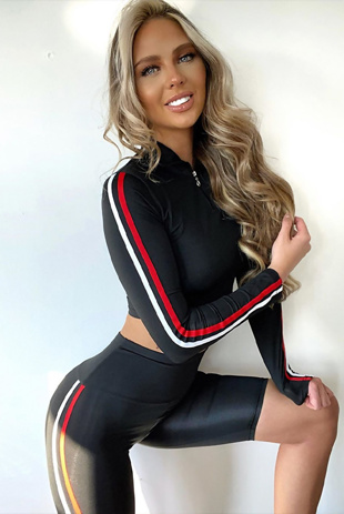 Arianna Ajtar Modelled Black Side Stripe Sweat Top And Cycle Short Co-ord