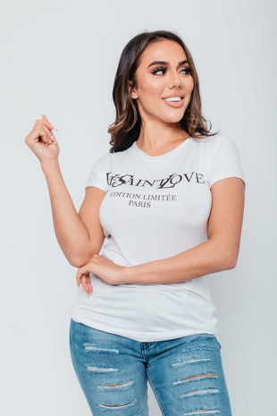 Arianna Ajtar Modelled White Slogan T-Shirt
