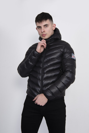 Mens Black Shinny Chevron Puffer Jacket