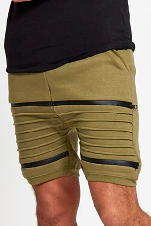 Mens Khaki Ribbed Zip Detail Shorts