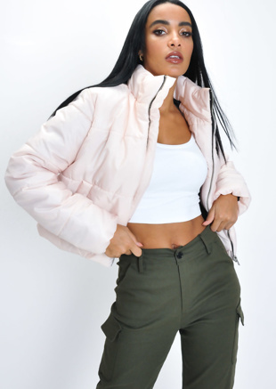Baby Pink High Neck Cropped Puffer Jacket