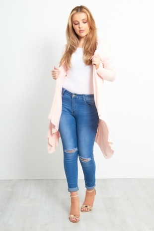 Baby Pink Waterfall Cardigan