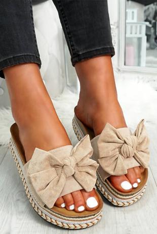 Beige Bow Flatform Sandals