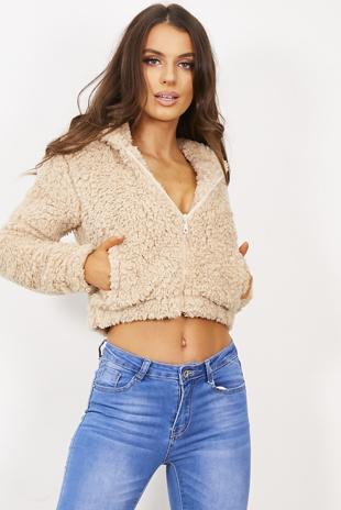 Beige Cropped Teddy Jacket